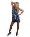 Pailletten jurkje kort blauw met zilver
