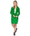 Groene business suit met klaver print voor dames