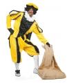 Zwarte pietenpak luxe geel zwart