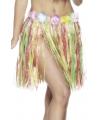 Gekleurde Hawaiiaanse rok van stro 45 cm