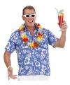 Hawaiiaans shirt blauw met witte bloemen