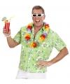 Hawaiiaans shirt groen met witte bloemen