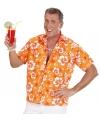 Hawaiiaans shirt oranje met witte bloemen