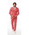 Rode business suit met hartjes print