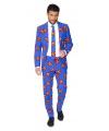 Business suit met Superman print