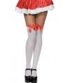 Kerst overknee kousen wit met rode strik