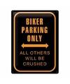 Wanddecoratie bikers parking only 30 x 40 cm