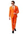 Oranje business suit met stropdas
