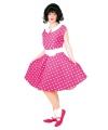 Fifties jurkje met polka dots roze/wit