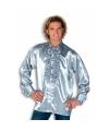 Satijnen overhemd zilver heren