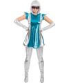 Space kostuum blauw/zilver voor dames