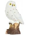Sneeuwuil beeldje met licht 15 cm