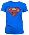 Film damesshirt Superman logo versleten
