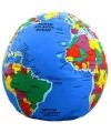 Wereldbol kussen met plaatsnamen 30 cm