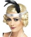 Satijnen hoofdband met veer jaren 20