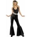 Zwarte disco catsuit voor dames